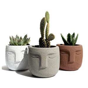 Set of 3 Boho Abstract Face Succulent Planters
